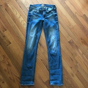 J. Crew medium wash straight leg jeans.